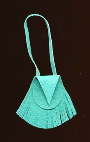 BARBIE DOLL PURSE - TURQUOISE SUEDE GENUINE LEATHER FRINGED HANDBAG - LINHILL