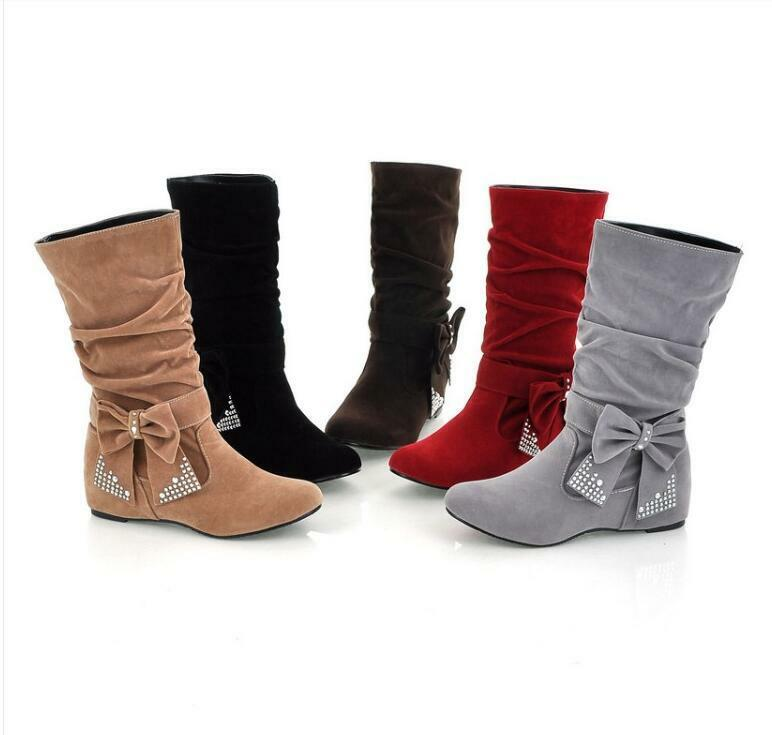 Womens Wedge Heel Mid-Calf Bowknot Boots Slouch shoes New Casual Sweet Sixe Hot