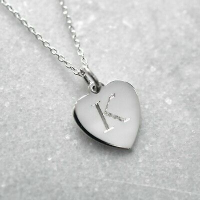 Sterling Silver Personalised Initial Heart Charm Necklace