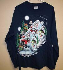 Santa Claus Polar Bear Longsleeve T-Shirt Mens XL Holidays Christmas 1998 VTG