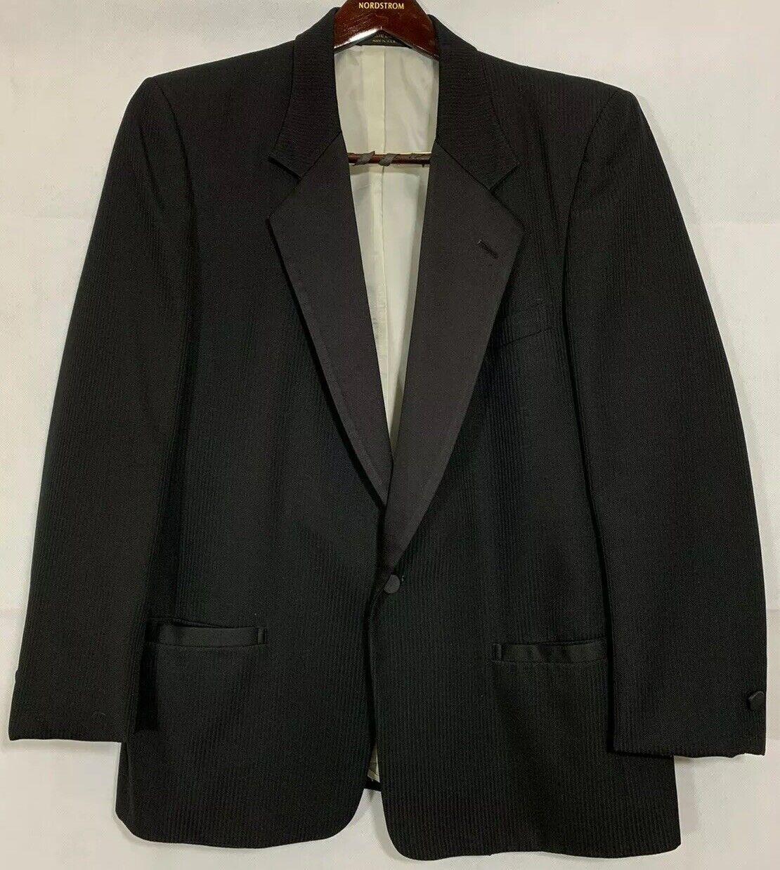 Mens Pierre Cardin Black Striped Tuxedo Jacket Satin Lapels 1 Button Size 36S