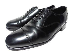 FLORSHEIM-CAP-TOE-BLACK-LEATHER-MEN-039-S-DRESS-OXFORDS-LACE-UP-SHOES-SIZE-10-5-D