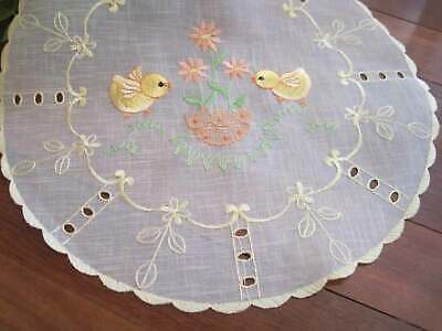 Other Antique Lace & Crochet Pretty Chicken Flower Embroidery Cutwork Sheer Yellow Round Doily Elegant In Style