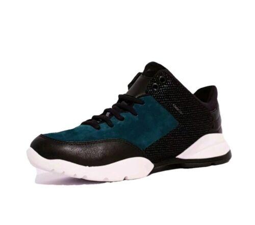 Geox respira sfinge D642NA RRP £ 105 Negro Azul Cuero Zapatos De Gamuza Combi Damas