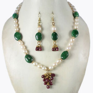 Image Is Loading 364 10 Carat Natural Pearl Emerald Amp Ruby