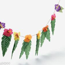 4 Hibiscus Flowers & Leaves Garland Luau Party Decor Hawaiian Wedding Decoration