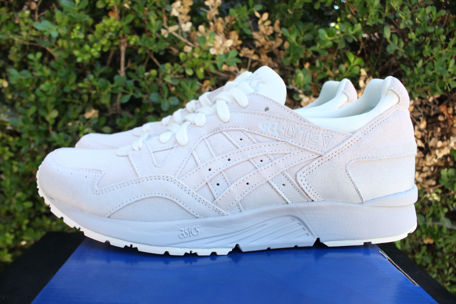 ASICS GEL LYTE V 5 SZ 9 VANILLA CREAM GREY WHITE RUNNING SHOES H7Z2L 0000
