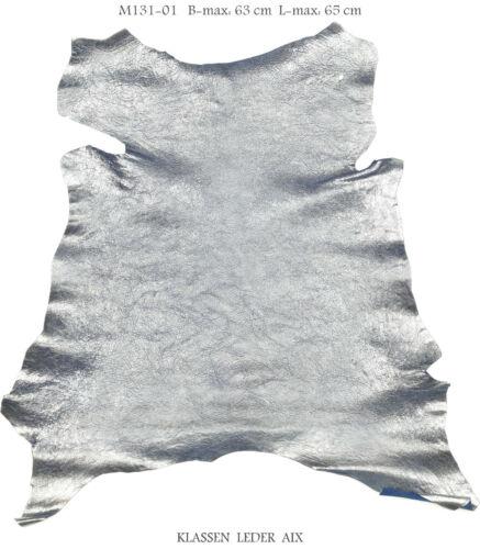 Cabra azul plata metálica Design 1,1 mm de grosor cuero genuino pelaje Leather m131