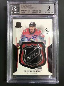 2017-18-The-Cup-Erik-Karlsson-NHL-Black-Shield-1-1-BGS-9-MINT-10-AUTO