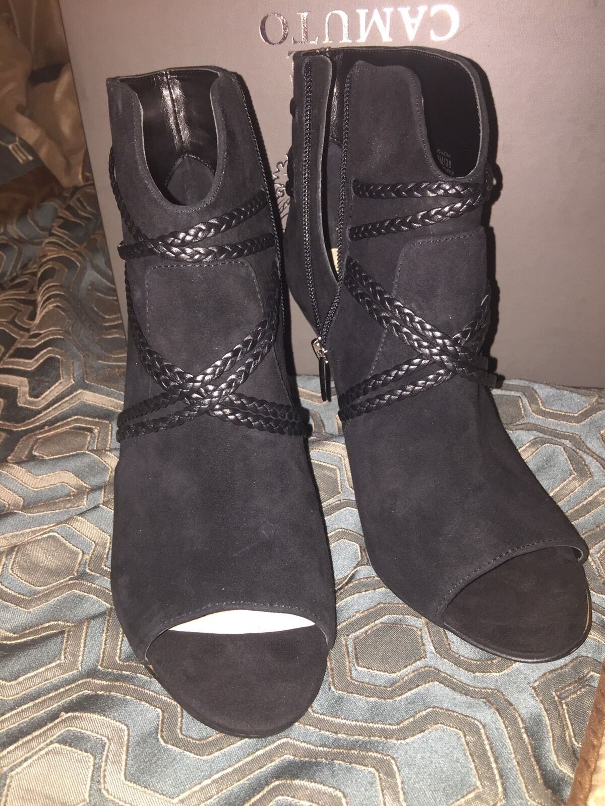 Vince Camuto Astan Open Toe Bootie Black Suede Size 8