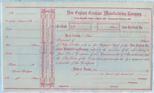 New England Excelsior Manufacturing Company Stock Certificate Boston MA Pre War
