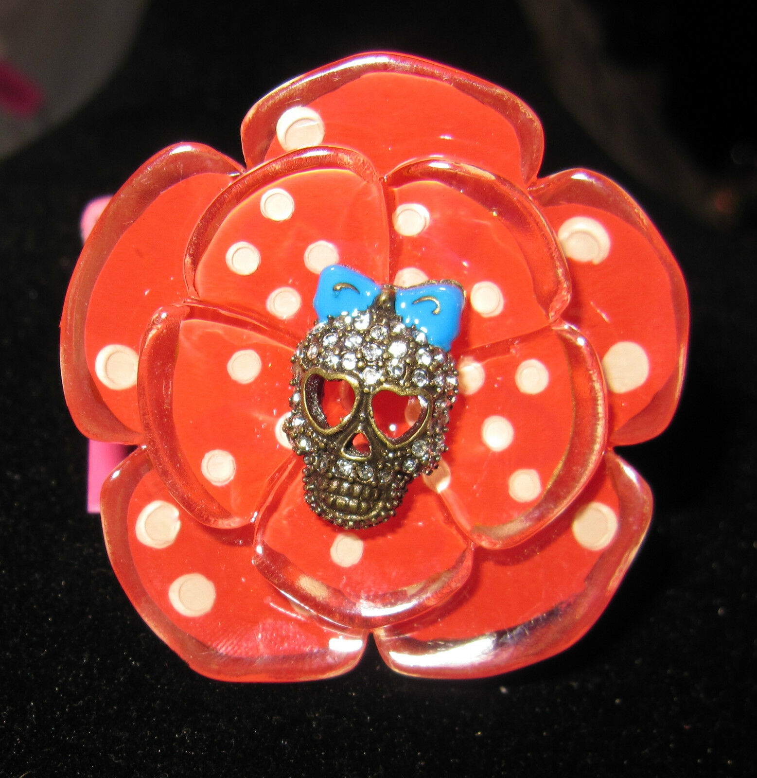 BETSEY JOHNSON YACHT CLUB SPECTATOR NAUTICAL RED FLOWER STRETCH RING WITH SKULL