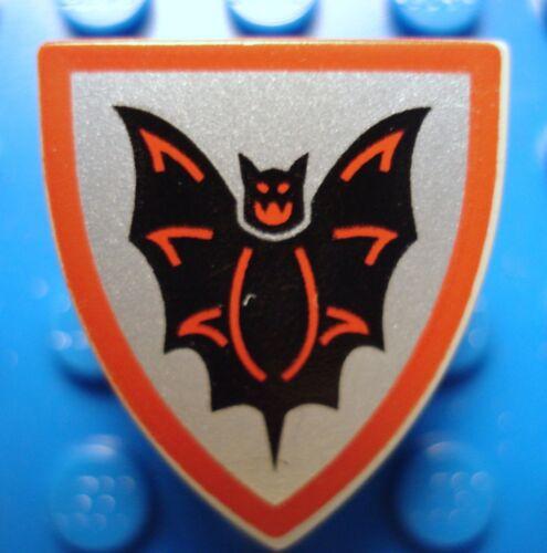 LEGOS  Light Gray Minifig Triangular Shield with Black Bat on Silver Background