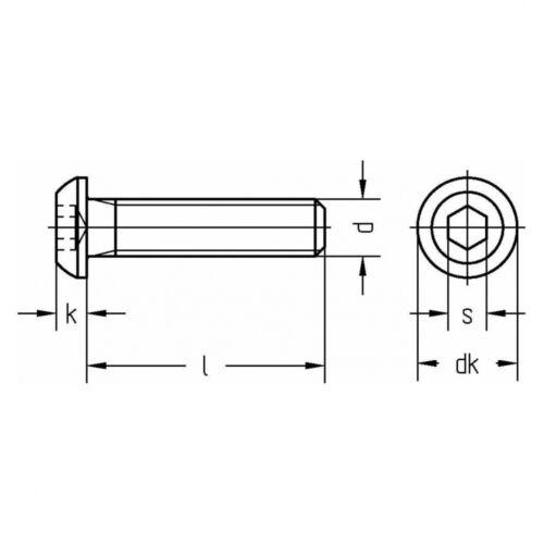 10.9 blank ISO 7380 Linsenschraube Innensechskant M 10 x 16