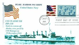 Uss-Wasmuth-DD-338-Pearl-Harbor-1941-Foto-Cacheted-Navale-Primo-Day-Of-Issue-Pm