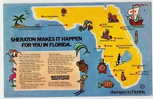 Florida Hotel Map.Details About Sheraton Hotel Florida Map Miami Beach Plastichrome Postcard Fl Unused
