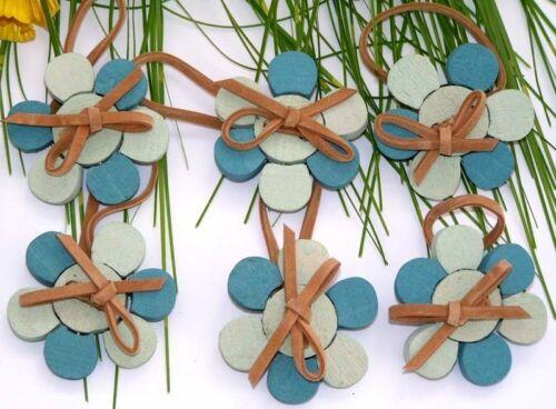 6 x trendy flor de madera en el colgante 4,5 cm azul//turquesa preishit x 4820