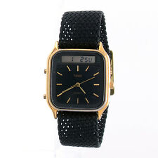 Vintage Timex Men Analog Digital Dual Time Chrono Quartz Watch Perlon Strap