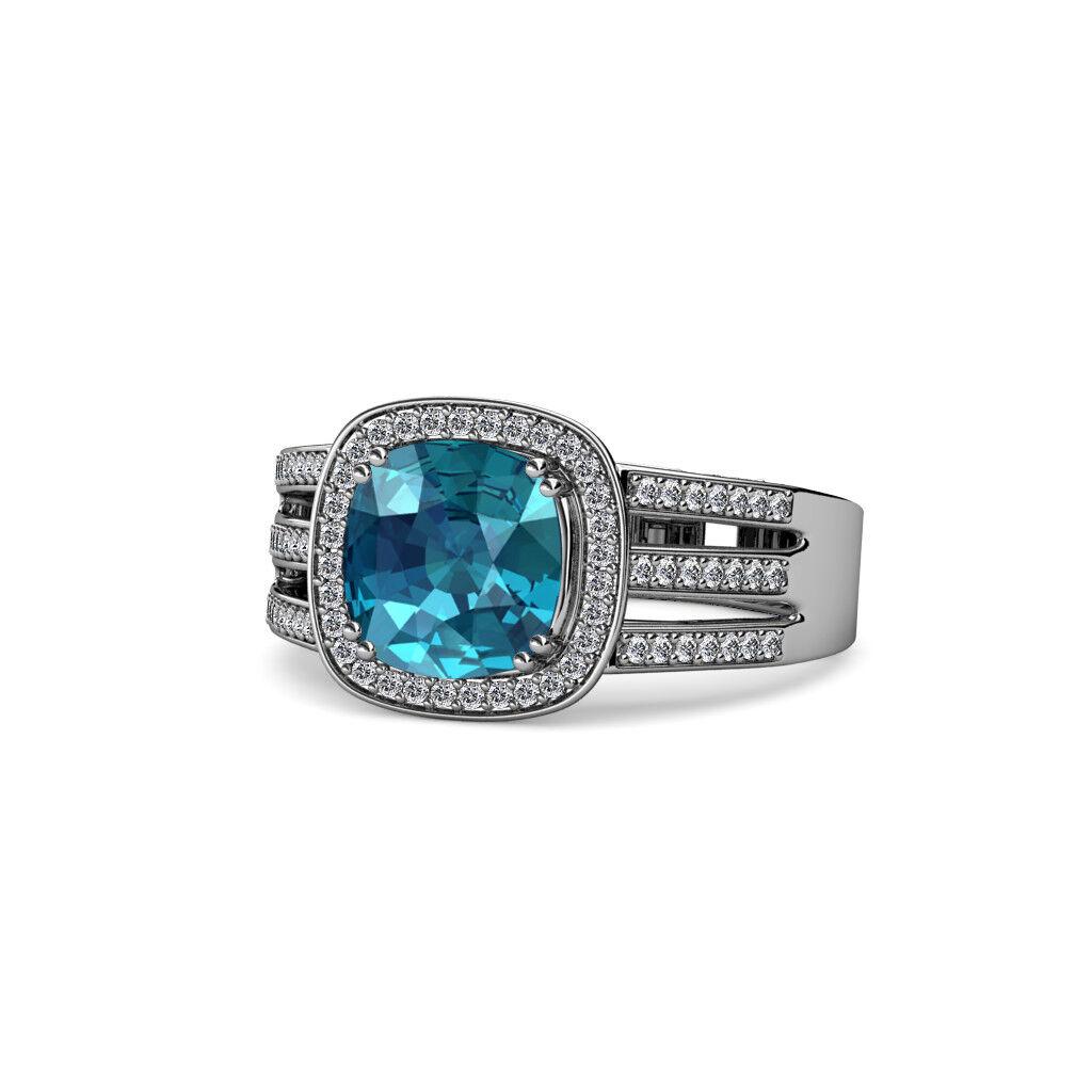 London bluee Topaz & Diamond Halo Ring 3.20 Carat tw in 14K White gold JP 109289