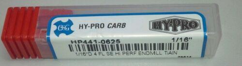"""HP441-0625 1//16/""""D 4 FL SE HI PERF ENDMILL TiAN HY-PRO CARB Lot//10"""
