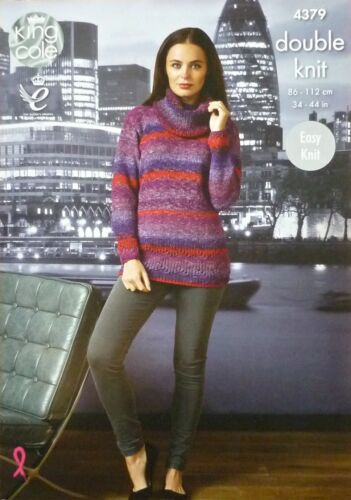 Knitting Pattern femmes Easy Knit Cowl Neck Pull Col Rond Cardigan DK 4379