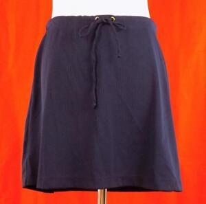 LAUREN by Ralph Lauren~Sz M~Blue Ribbed Shadow Stripe Skirt~Drawstring Waist