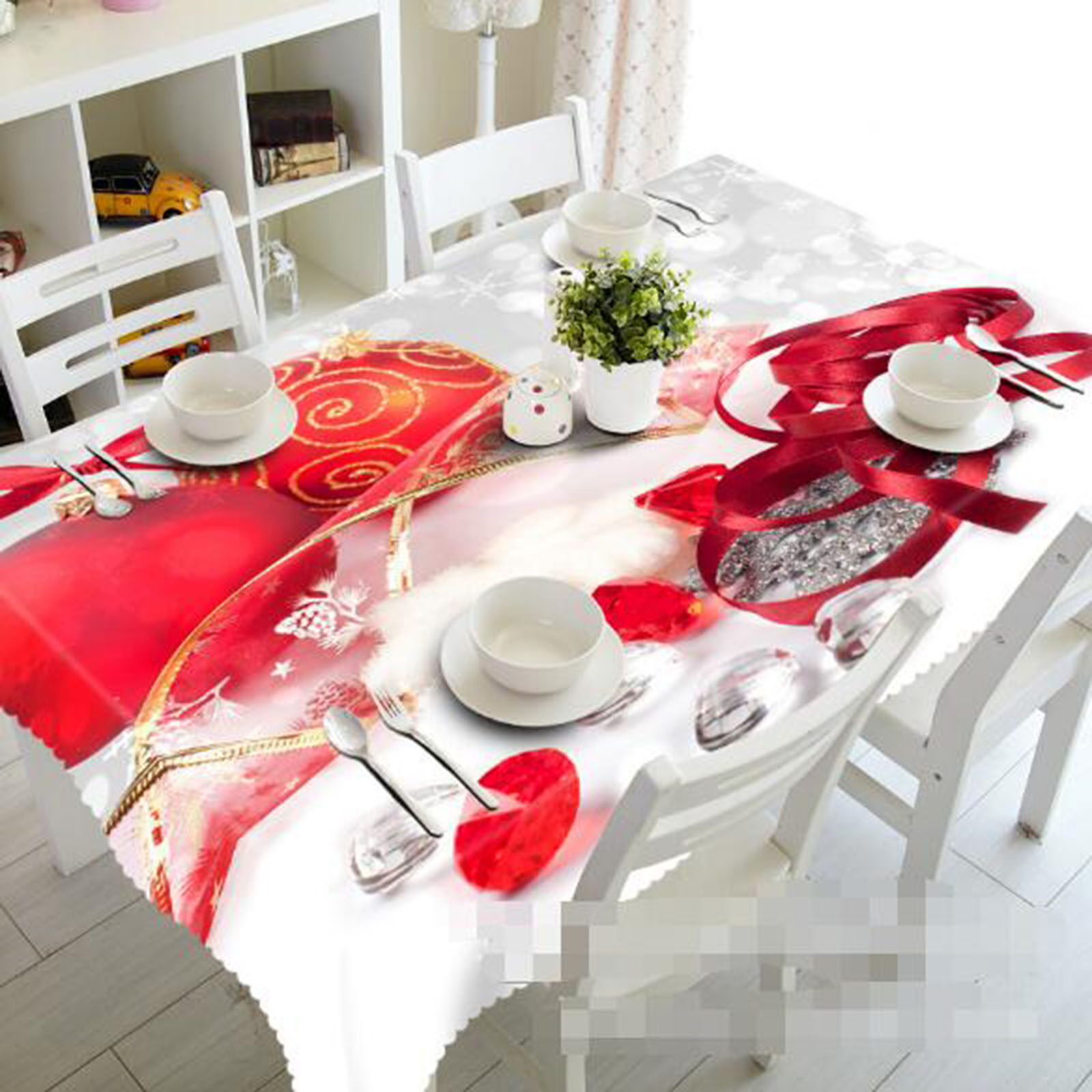 3D Red Pattern Tablecloth Table Cover Cloth Birthday Party AJ WALLPAPER UK Lemon
