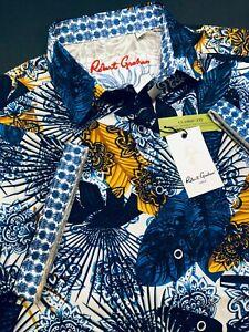 Robert-Graham-Large-Shirt-Mens-Palm-Bay-Blue-Orange-Paisley-Short-Sleeve-New