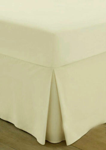 Pleated Percale Fitted Valance Bed Sheets Cotton Single Double King Super Plain