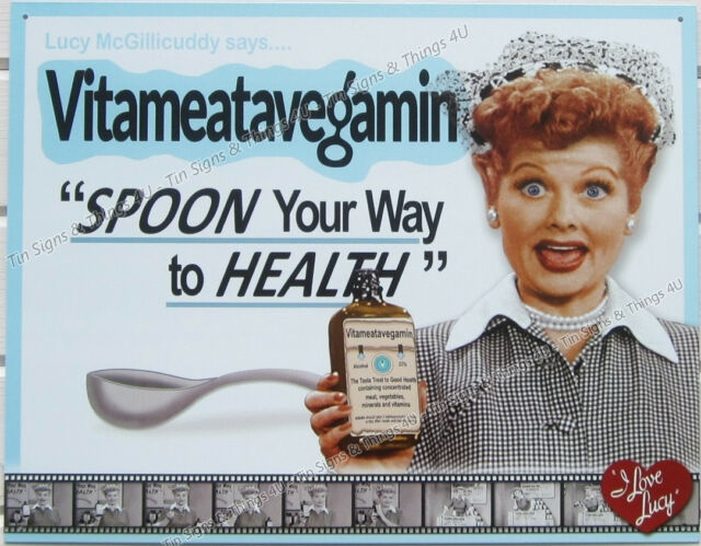 I love Lucy Vitameatavegamin TIN SIGN vtg funny tv metal poster wall decor 2004