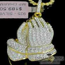 New Yellow Gold Over Sterling Silver Praying Hand Charm Pendant Necklace Chain