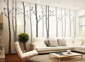 Details About 4pcs Grey Big Birch Tree Wall Decal Removable Vinyl Tree Wall Sticker Nursery