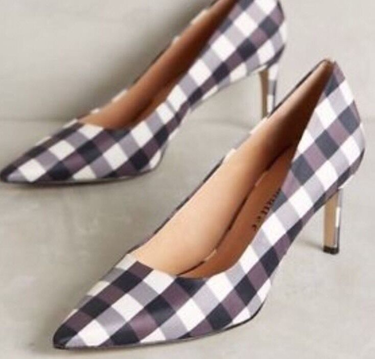 NEW  168 Anthropologie Astor Pumps Gingham Heels Size 6
