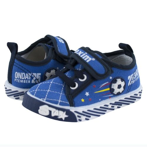 Canvas boys shoes UK 3-12 TRAINERS Real leather insoles Toddler NEW KIDS