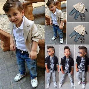 cc2d893fbf Kids Boys Blazer Shirt Tops Denim Pants Gentleman 3Pcs Outfits ...