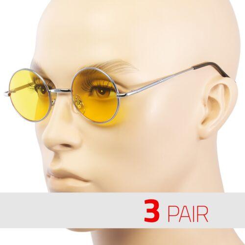 3 PAIR John Lennon Style Vintage Classic Circle Round Sunglasses Men Women YELLO