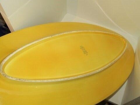 Porcelæn, Ursula  Langt gult fiskefad, Ursula  Langt
