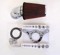 Dna Chrome cone Air Cleaner Red Filter Kit Cv Carb Harley Softail Dyna Touring