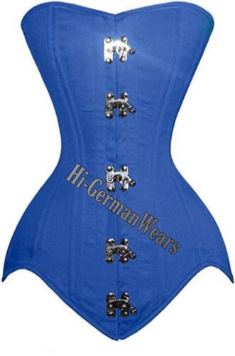 Heavy duty double STEEL Boned over bust waist TRAINING BLUE COTTON corsets hi-35