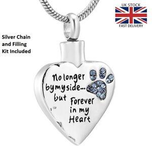 Pet-Cat-Dog-Keepsake-Heart-Cremation-Urn-Pendant-Ashes-Necklace-Funeral-Memorial