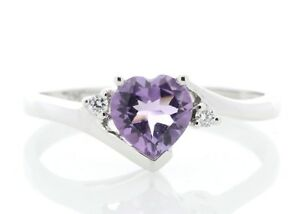 Diamond-And-Heart-Shaped-Amethyst-9ct-White-Gold-Ring-Cert-AGI-FREE-Ship