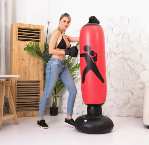 Boxing Punch Bag Set Free Standing Inflatable Boxing Punch Bag for Kid Adult Red
