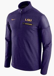 46c334e105e7 NIKE LSU Tigers Purple Gold Elite Coaches 1 2 Zip Shirt Jacket New ...