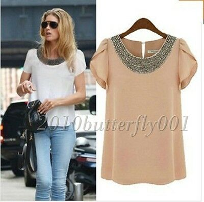 Womens Ladies Chiffon Short Sleeve T Shirt Casual Tops Beads Blouse