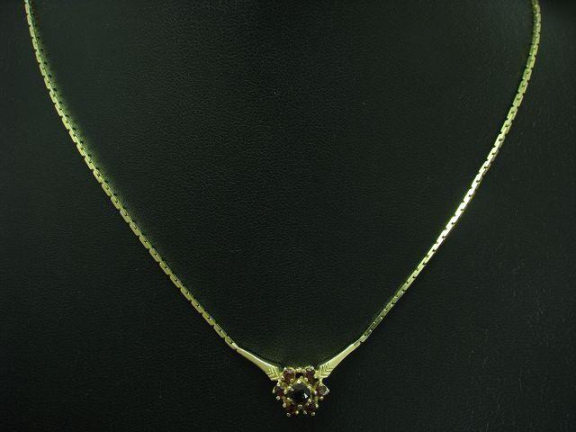 925 STERLING silver COLLIER MIT GRANAT BESATZ VERgoldET   ECHTsilver   42,8 cm