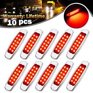 10-pcs-Red-Side-Marker-Lights-Clearance-12-LED-Truck-Trailer-For-Peterbilt-12V