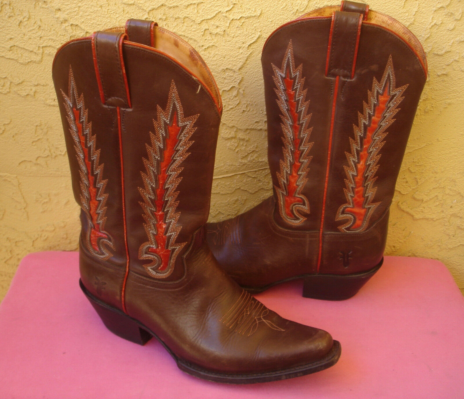 Frye Brown Leather Western Cowboy Boot * 10 * Fancy Stitches Square Toe Womens