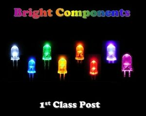 Ultra-Bright-LEDs-3mm-5mm-10mm-Red-Blue-White-Green-Yellow-Pink-UV-Orange