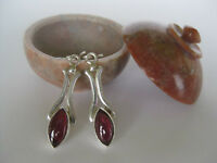 Garnet Silver Earrings Beautiful Red Cabochon Stones