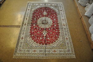 Hand Knotted Rug 6 X 9 Silk Red Isfahan Area Rug Sale Oriental